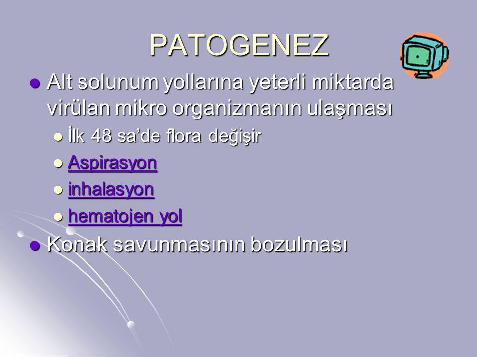 PATOGENEZ Alt solunum yollarına yeterli miktarda virülan mikro organizmanın ulaşması Alt solunum yollarına yeterli miktarda virülan mikro organizmanın
