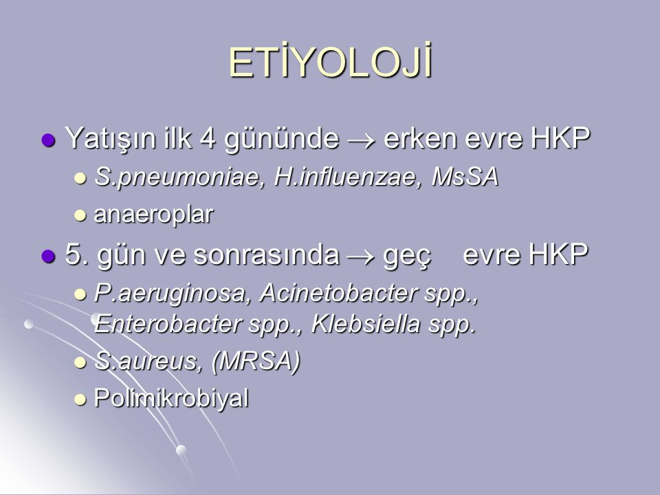 ETİYOLOJİ L.pneumophila L.pneumophila Fungal etkenler Fungal etkenler S.