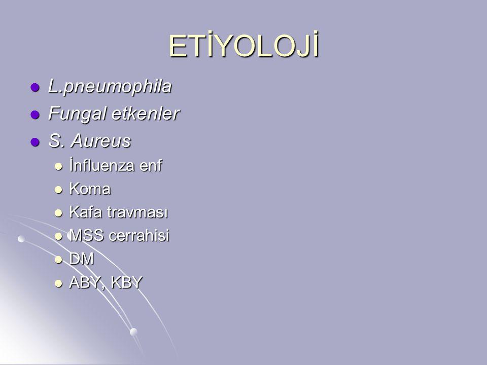 ETİYOLOJİ L.pneumophila L.pneumophila Fungal etkenler Fungal etkenler S. Aureus S. Aureus İnfluenza enf İnfluenza enf Koma Koma Kafa travması Kafa tra