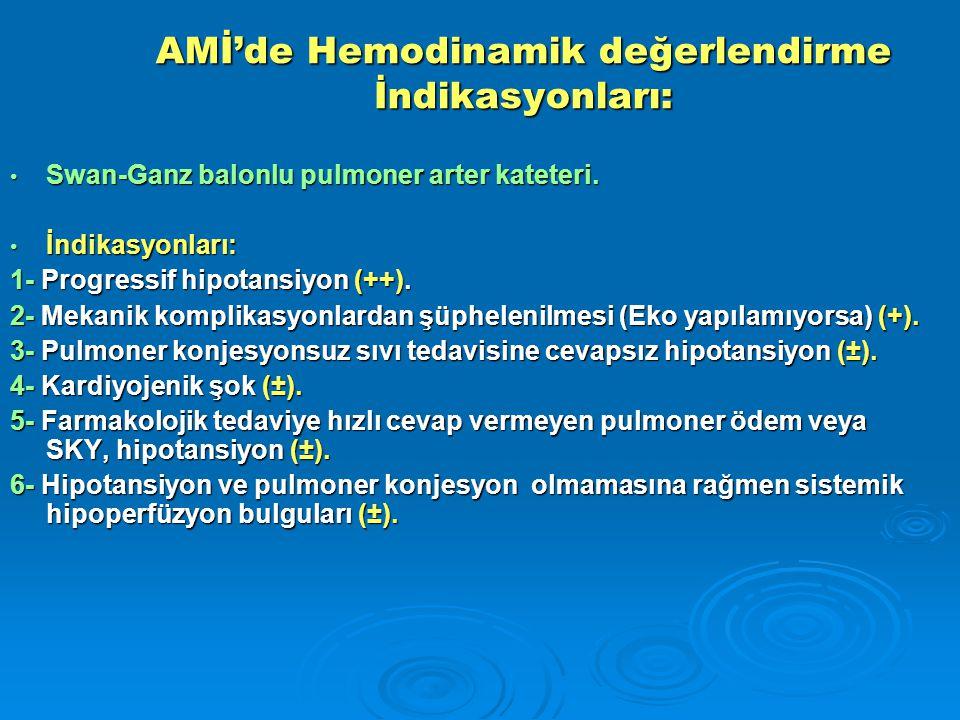 AMİ'de Hemodinamik değerlendirme İndikasyonları: Swan-Ganz balonlu pulmoner arter kateteri.
