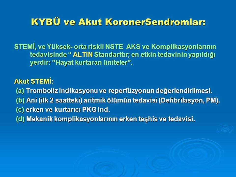 KYBÜ ve Akut KoronerSendromlar: STEMİ, ve Yüksek- orta riskli NSTE AKS ve Komplikasyonlarının tedavisinde ALTIN Standarttır; en etkin tedavinin yapıldığı yerdir: Hayat kurtaran üniteler .
