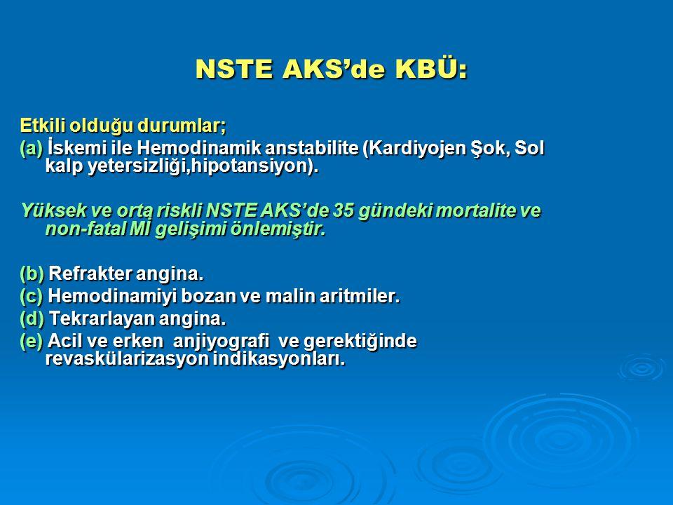 NSTE AKS'de KBÜ: NSTE AKS'de KBÜ: Etkili olduğu durumlar; (a) İskemi ile Hemodinamik anstabilite (Kardiyojen Şok, Sol kalp yetersizliği,hipotansiyon).