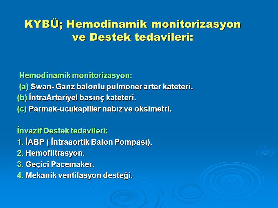 KYBÜ; Hemodinamik monitorizasyon ve Destek tedavileri: Hemodinamik monitorizasyon: Hemodinamik monitorizasyon: (a) Swan- Ganz balonlu pulmoner arter kateteri.