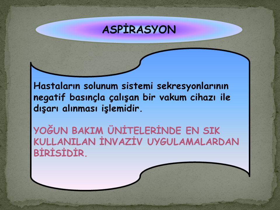 ASPİRASYON Hastaların solunum sistemi sekresyonlarının negatif basınçla çalışan bir vakum cihazı ile dışarı alınması işlemidir. YOĞUN BAKIM ÜNİTELERİN