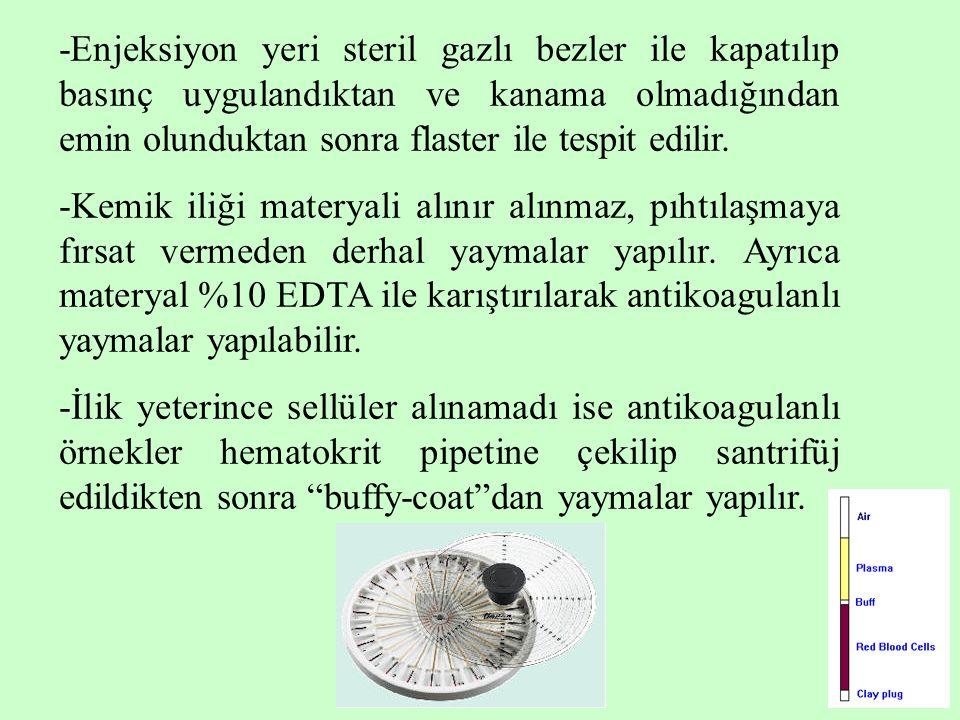 16 -Enjeksiyon yeri steril gazlı bezler ile kapatılıp basınç uygulandıktan ve kanama olmadığından emin olunduktan sonra flaster ile tespit edilir. -Ke