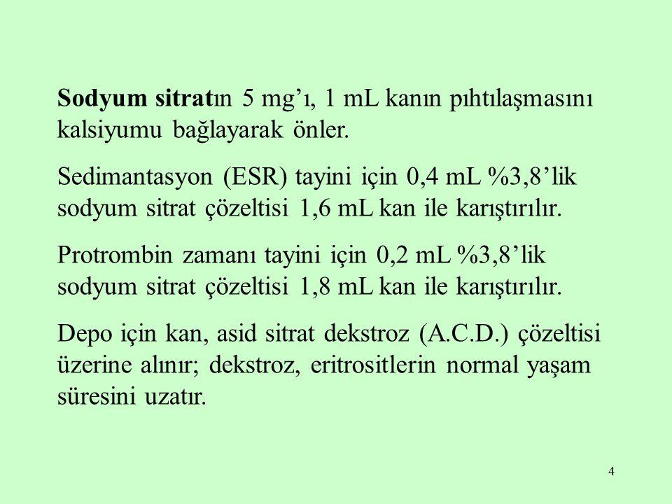 4 Sodyum sitratın 5 mg'ı, 1 mL kanın pıhtılaşmasını kalsiyumu bağlayarak önler. Sedimantasyon (ESR) tayini için 0,4 mL %3,8'lik sodyum sitrat çözeltis