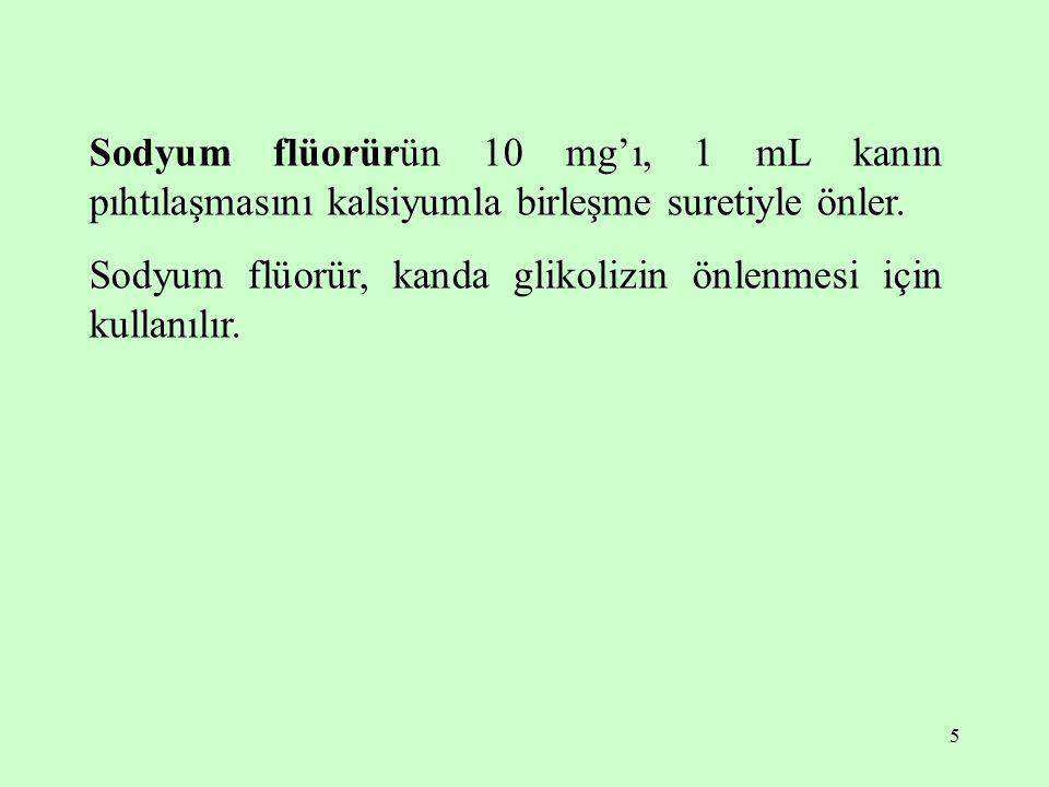5 Sodyum flüorürün 10 mg'ı, 1 mL kanın pıhtılaşmasını kalsiyumla birleşme suretiyle önler. Sodyum flüorür, kanda glikolizin önlenmesi için kullanılır.