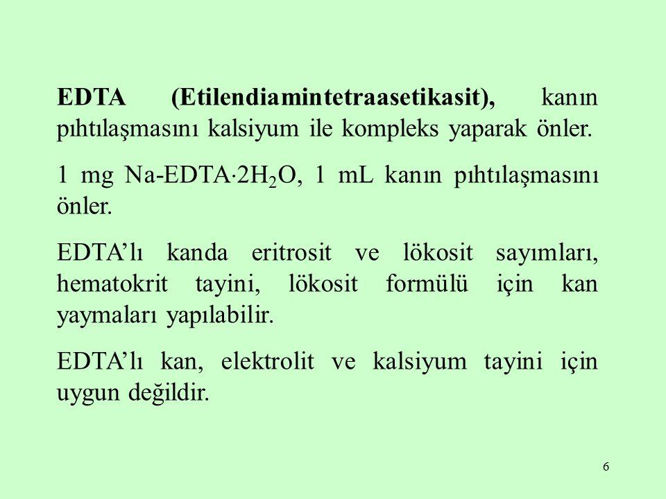 6 EDTA (Etilendiamintetraasetikasit), kanın pıhtılaşmasını kalsiyum ile kompleks yaparak önler. 1 mg Na-EDTA  2H 2 O, 1 mL kanın pıhtılaşmasını önler