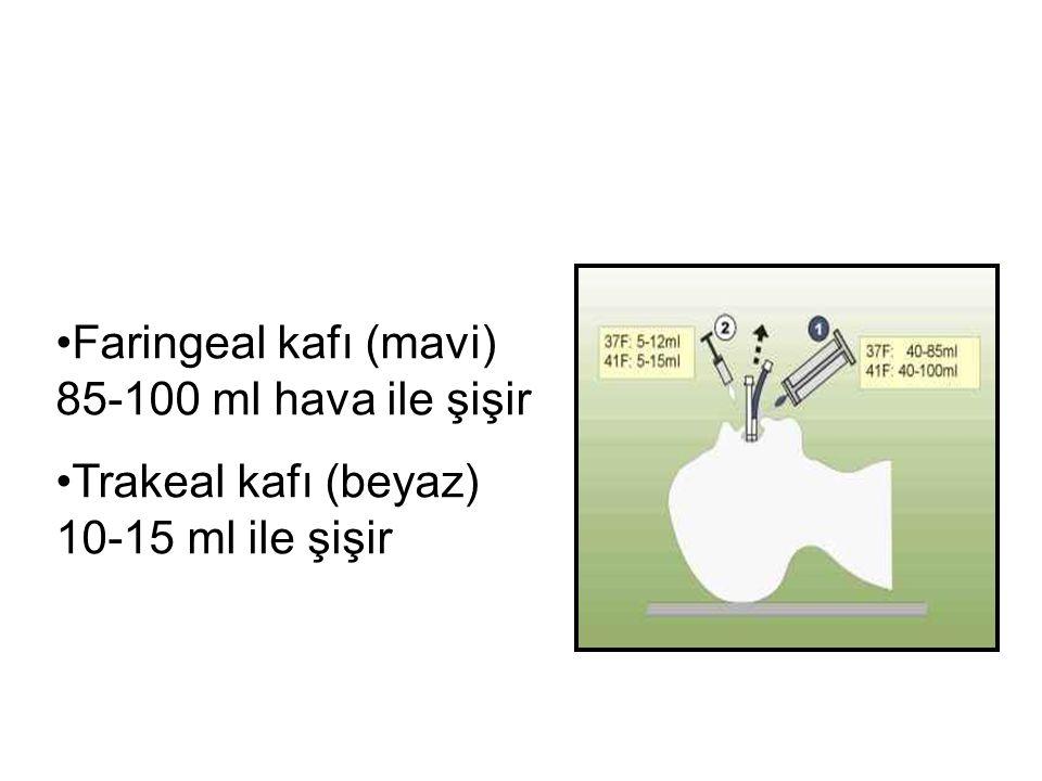 Faringeal kafı (mavi) 85-100 ml hava ile şişir Trakeal kafı (beyaz) 10-15 ml ile şişir