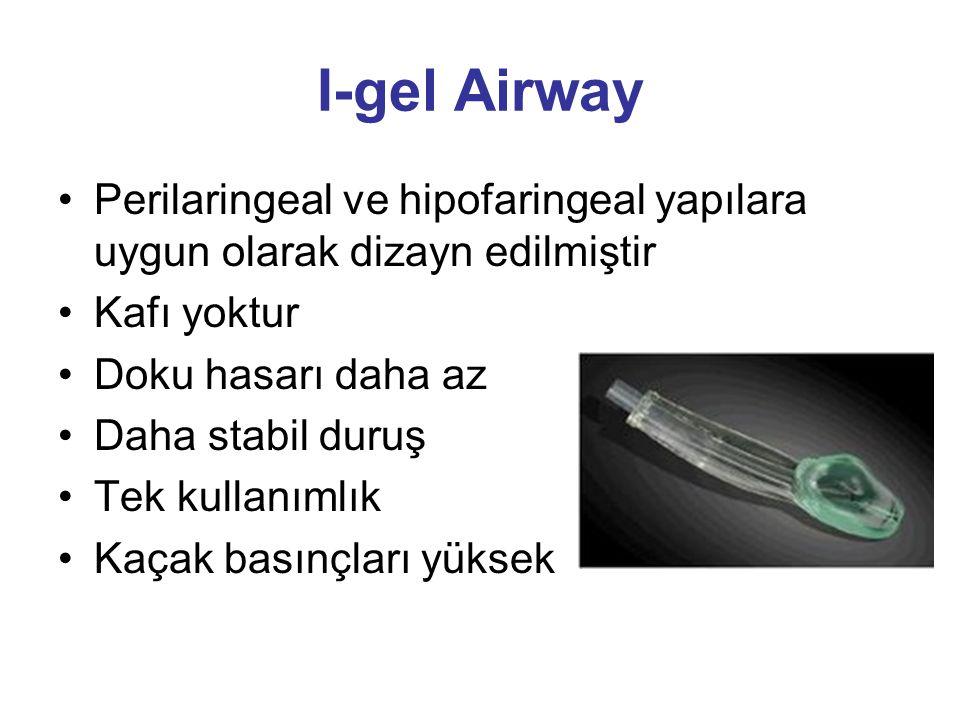 I-gel Airway Perilaringeal ve hipofaringeal yapılara uygun olarak dizayn edilmiştir Kafı yoktur Doku hasarı daha az Daha stabil duruş Tek kullanımlık Kaçak basınçları yüksek
