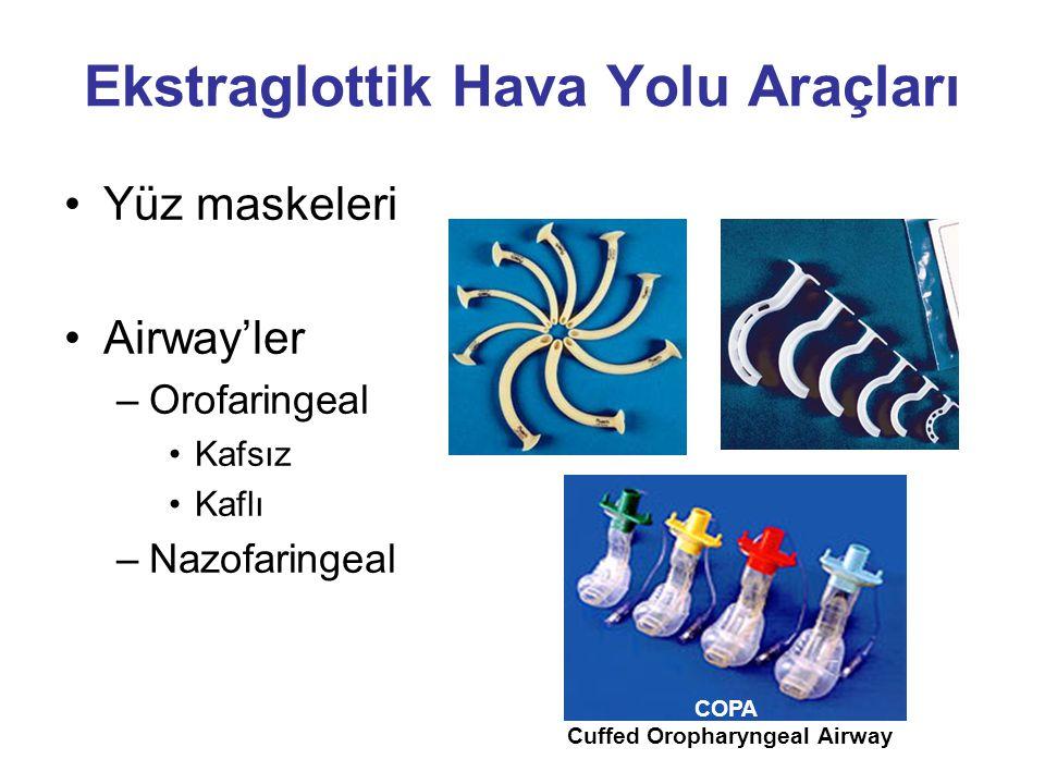 Ekstraglottik Hava Yolu Araçları Yüz maskeleri Airway'ler –Orofaringeal Kafsız Kaflı –Nazofaringeal COPA Cuffed Oropharyngeal Airway