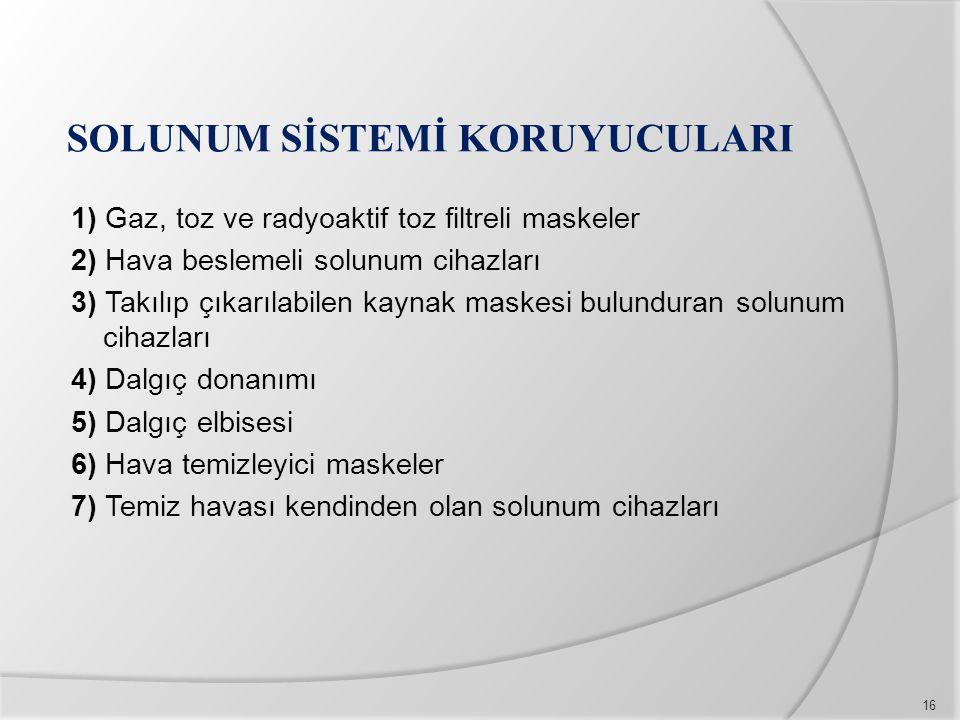 SOLUNUM SİSTEMİ KORUYUCULARI 1) Gaz, toz ve radyoaktif toz filtreli maskeler 2) Hava beslemeli solunum cihazları 3) Takılıp çıkarılabilen kaynak maske