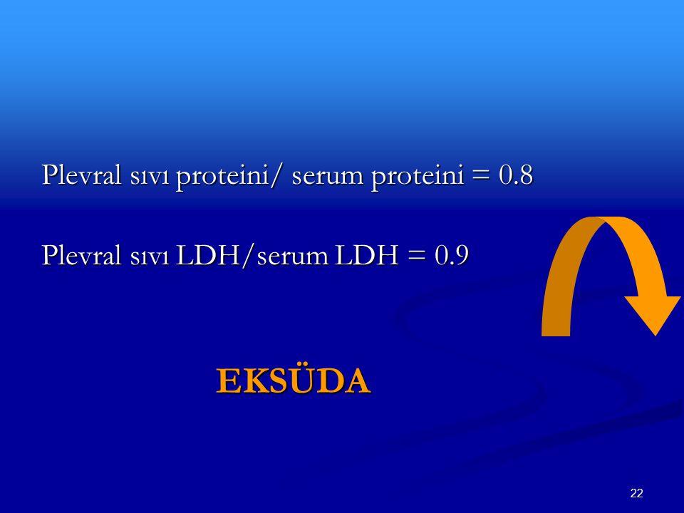 22 Plevral sıvı proteini/ serum proteini = 0.8 Plevral sıvı LDH/serum LDH = 0.9 EKSÜDA EKSÜDA