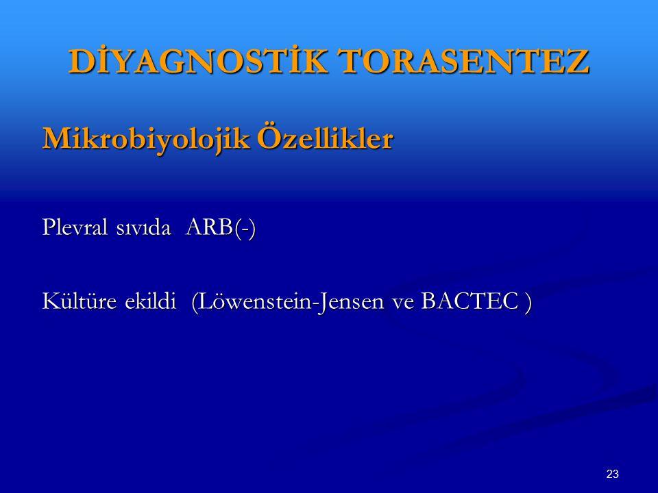 23 DİYAGNOSTİK TORASENTEZ Mikrobiyolojik Özellikler Plevral sıvıda ARB(-) Kültüre ekildi (Löwenstein-Jensen ve BACTEC )