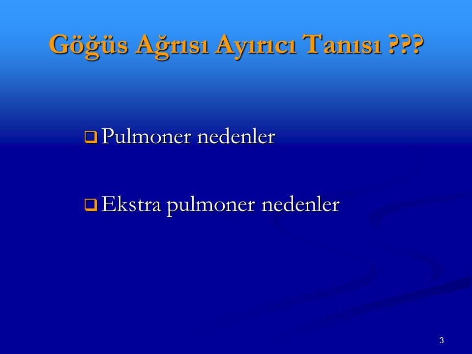 3 Göğüs Ağrısı Ayırıcı Tanısı ???  Pulmoner nedenler  Ekstra pulmoner nedenler