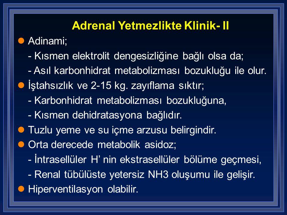 Adrenal Yetmezlikte Klinik- II Adinami; - Kısmen elektrolit dengesizliğine bağlı olsa da; - Asıl karbonhidrat metabolizması bozukluğu ile olur. İştahs