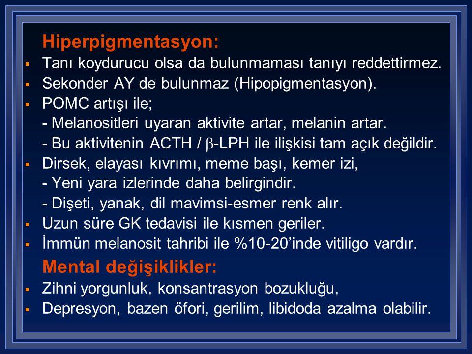 Hiperpigmentasyon:  Tanı koydurucu olsa da bulunmaması tanıyı reddettirmez.  Sekonder AY de bulunmaz (Hipopigmentasyon).  POMC artışı ile; - Melano
