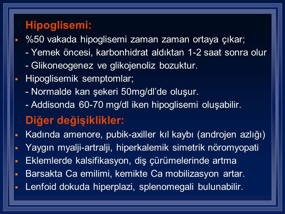 Hipoglisemi:  %50 vakada hipoglisemi zaman zaman ortaya çıkar; - Yemek öncesi, karbonhidrat aldıktan 1-2 saat sonra olur - Glikoneogenez ve glikojeno