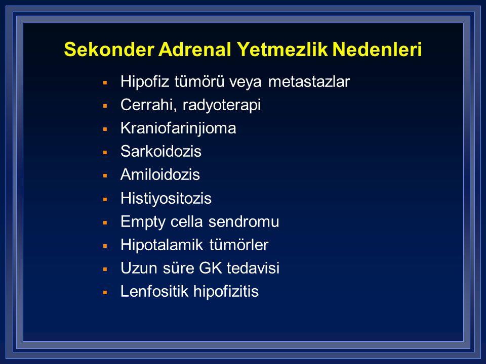Sekonder Adrenal Yetmezlik Nedenleri  Hipofiz tümörü veya metastazlar  Cerrahi, radyoterapi  Kraniofarinjioma  Sarkoidozis  Amiloidozis  Histiyo