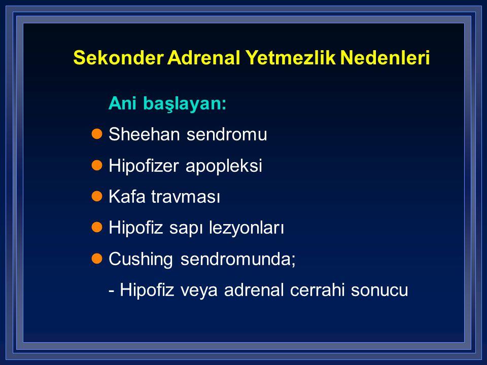 Sekonder Adrenal Yetmezlik Nedenleri Ani başlayan: Sheehan sendromu Hipofizer apopleksi Kafa travması Hipofiz sapı lezyonları Cushing sendromunda; - H