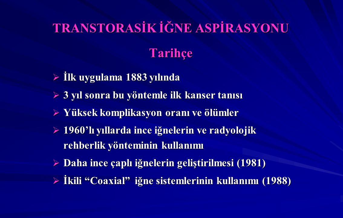 TRANSTORASİK İĞNE ASPİRASYONU Tarihçe  İlk uygulama 1883 yılında  3 yıl sonra bu yöntemle ilk kanser tanısı  Yüksek komplikasyon oranı ve ölümler  1960'lı yıllarda ince iğnelerin ve radyolojik rehberlik yönteminin kullanımı  Daha ince çaplı iğnelerin geliştirilmesi (1981)  İkili Coaxial iğne sistemlerinin kullanımı (1988)