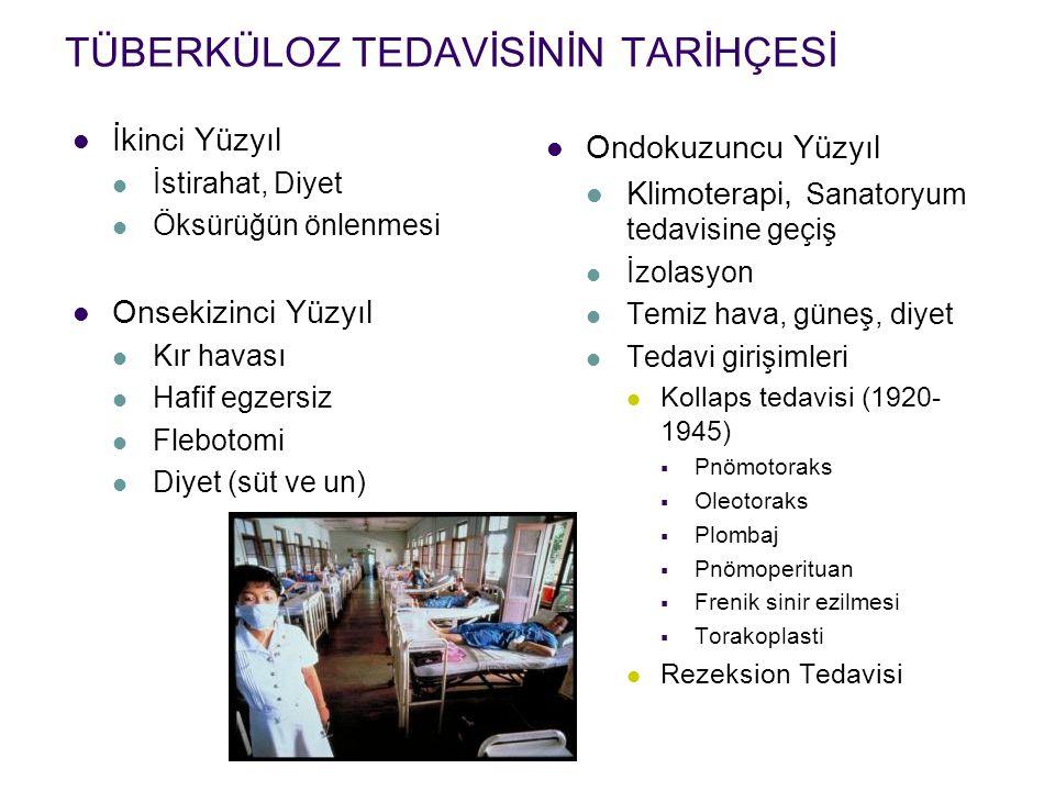 Kemoterapi Dönemi 1944Streptomisin 1949PAS 1952İsoniyazid H+S+PAS (18-24 ay) 1954Pirazinamid 1956Etambutol Ayaktan tedavi araştırmaları (1960-1970) Kısa süreli tedavi araştırmaları (1970-1986) 1969Rifampisin Doğrudan Gözetimli Tedavi (DGT)