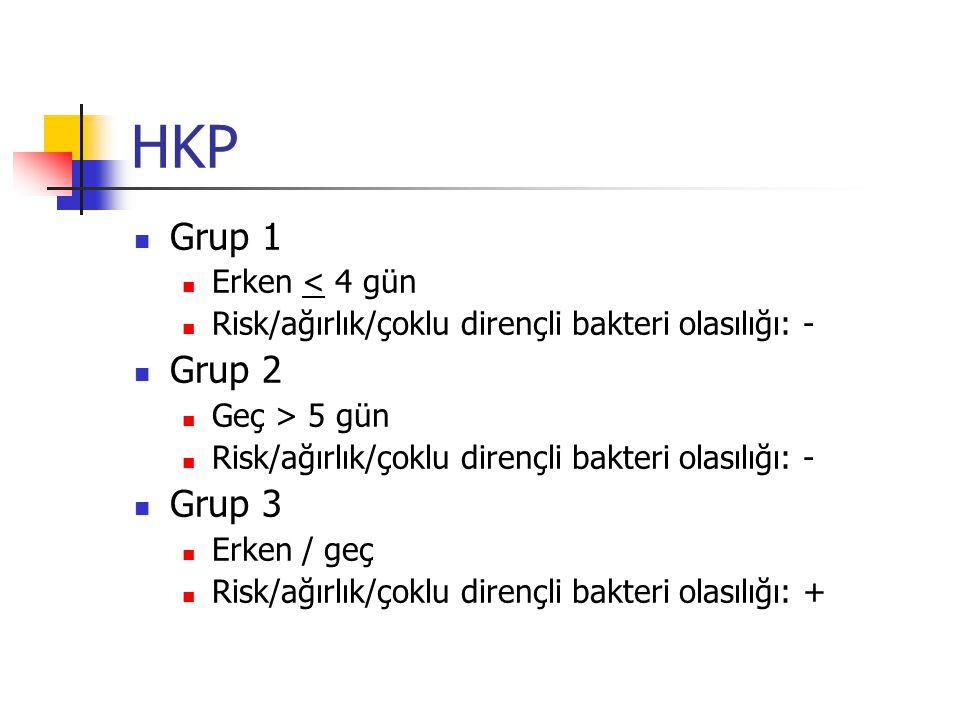 HKP Grup 1 Erken < 4 gün Risk/ağırlık/çoklu dirençli bakteri olasılığı: - Grup 2 Geç > 5 gün Risk/ağırlık/çoklu dirençli bakteri olasılığı: - Grup 3 Erken / geç Risk/ağırlık/çoklu dirençli bakteri olasılığı: +