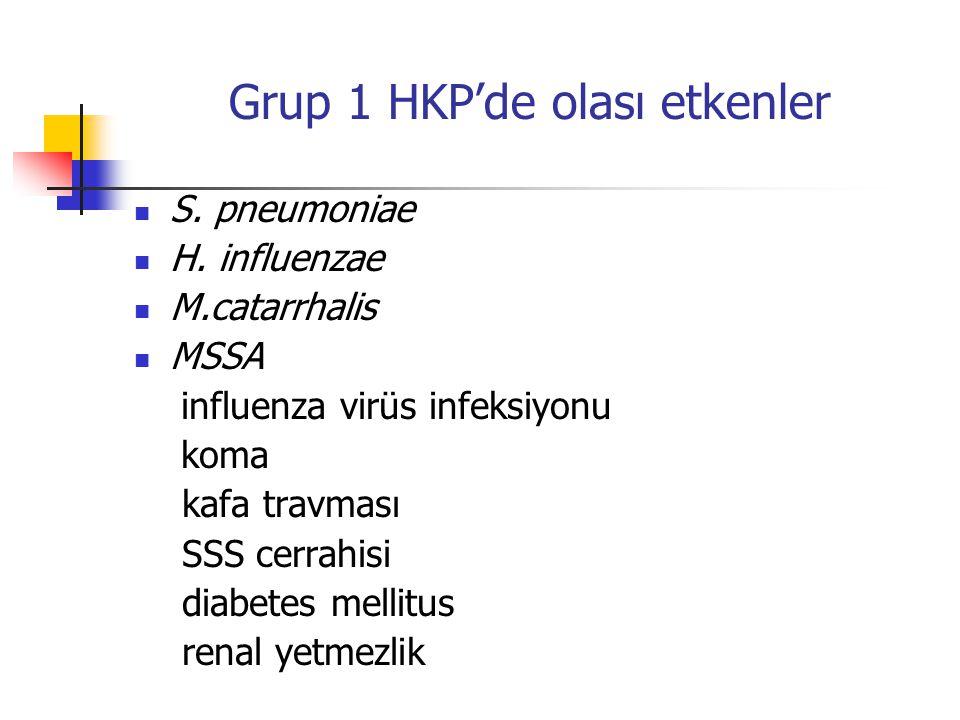 Grup 1 HKP'de olası etkenler S. pneumoniae H.