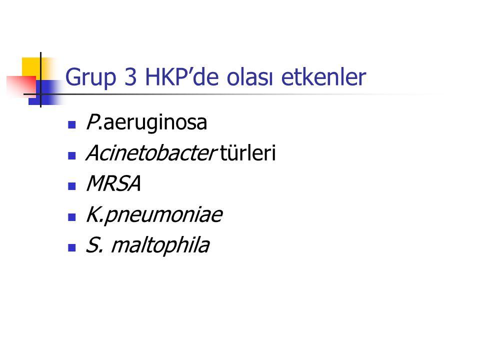 Grup 3 HKP'de olası etkenler P.aeruginosa Acinetobacter türleri MRSA K.pneumoniae S. maltophila