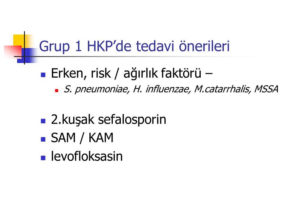 Grup 1 HKP'de tedavi önerileri Erken, risk / ağırlık faktörü – S.