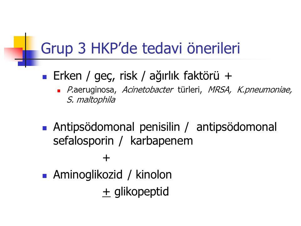 Grup 3 HKP'de tedavi önerileri Erken / geç, risk / ağırlık faktörü + P.aeruginosa, Acinetobacter türleri, MRSA, K.pneumoniae, S.