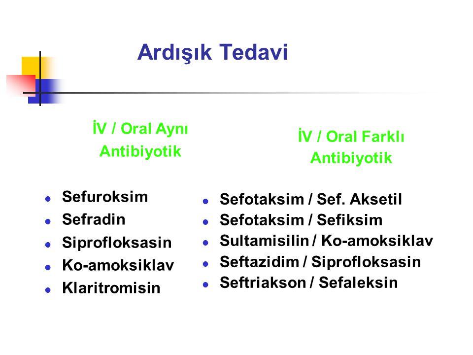 Ardışık Tedavi İV / Oral Aynı Antibiyotik l Sefuroksim l Sefradin l Siprofloksasin l Ko-amoksiklav l Klaritromisin İV / Oral Farklı Antibiyotik l Sefotaksim / Sef.