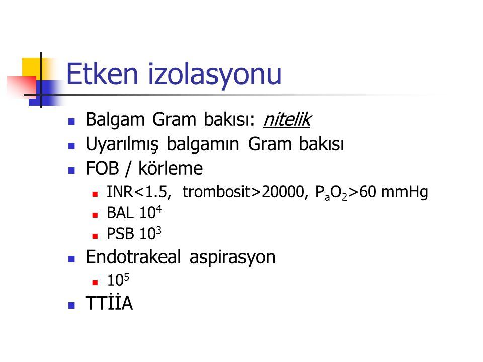 Etken izolasyonu Balgam Gram bakısı: nitelik Uyarılmış balgamın Gram bakısı FOB / körleme INR 20000, P a O 2 >60 mmHg BAL 10 4 PSB 10 3 Endotrakeal aspirasyon 10 5 TTİİA