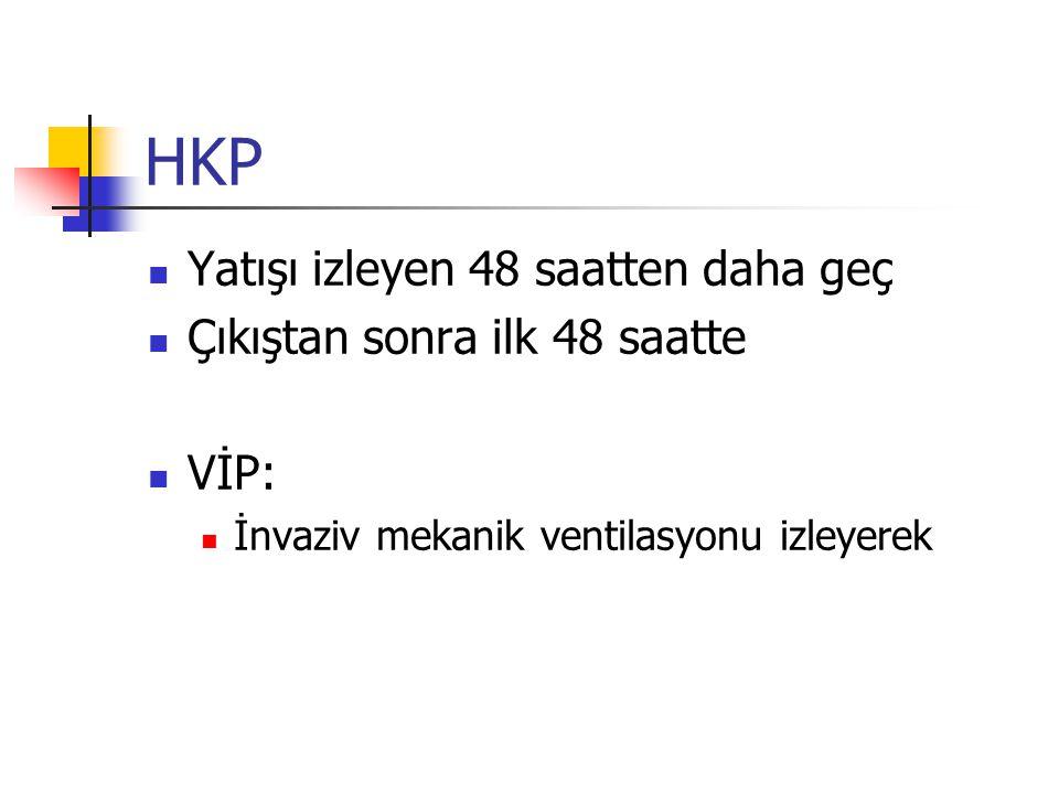 HKP Yatışı izleyen 48 saatten daha geç Çıkıştan sonra ilk 48 saatte VİP: İnvaziv mekanik ventilasyonu izleyerek