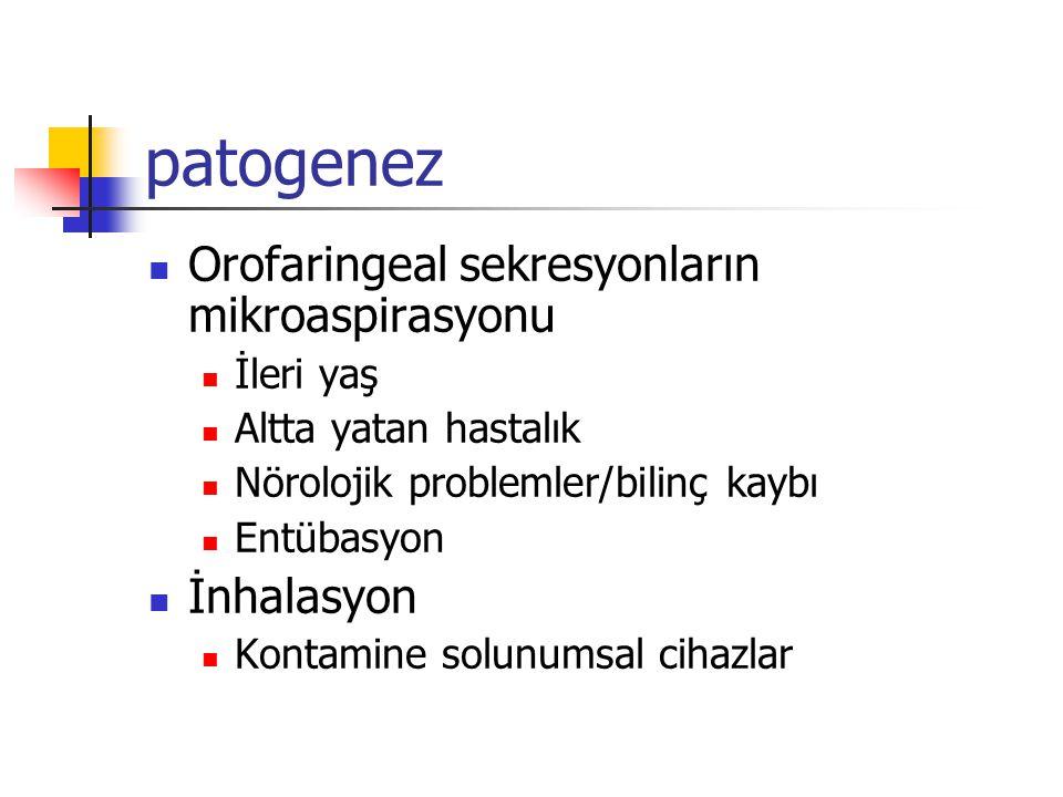 patogenez Orofaringeal sekresyonların mikroaspirasyonu İleri yaş Altta yatan hastalık Nörolojik problemler/bilinç kaybı Entübasyon İnhalasyon Kontamine solunumsal cihazlar
