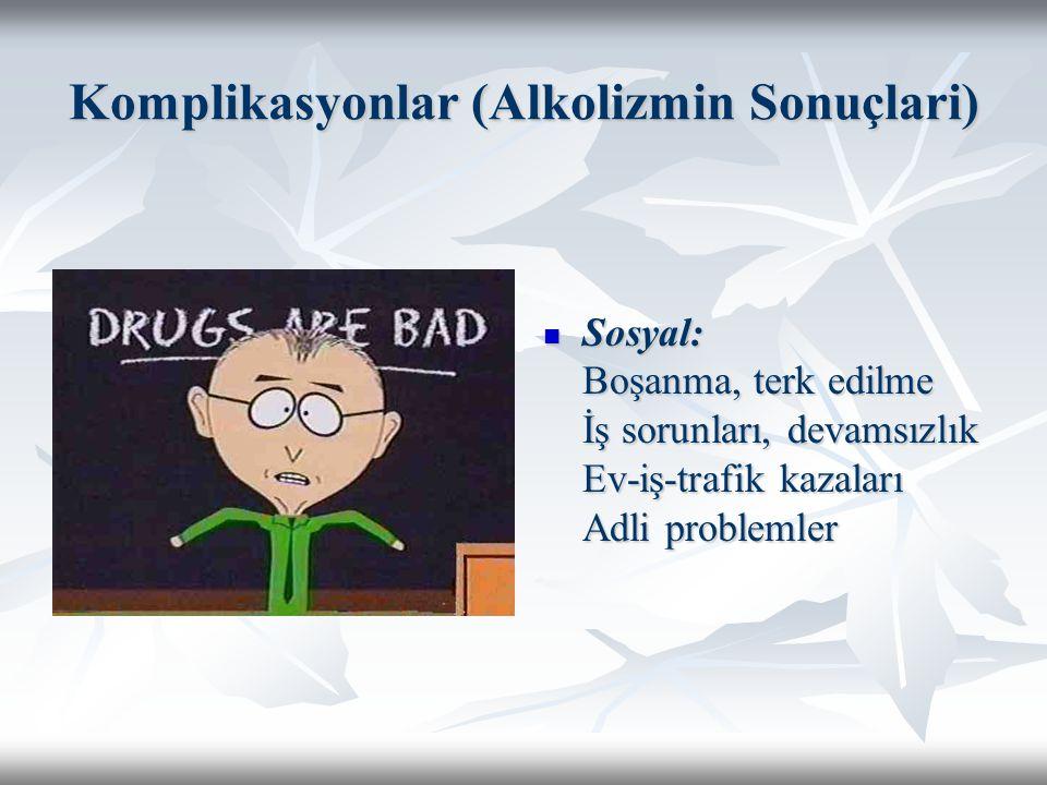 Komplikasyonlar (Alkolizmin Sonuçlari) Sosyal: Boşanma, terk edilme İş sorunları, devamsızlık Ev-iş-trafik kazaları Adli problemler Sosyal: Boşanma, t