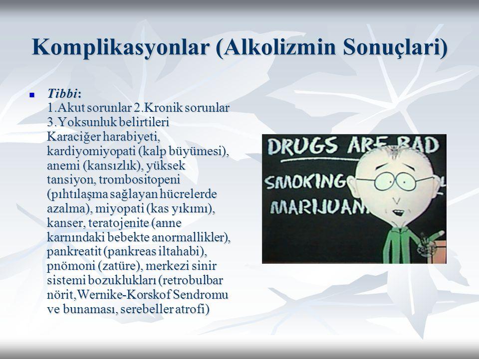 Komplikasyonlar (Alkolizmin Sonuçlari) Tibbi: 1.Akut sorunlar 2.Kronik sorunlar 3.Yoksunluk belirtileri Karaciğer harabiyeti, kardiyomiyopati (kalp bü