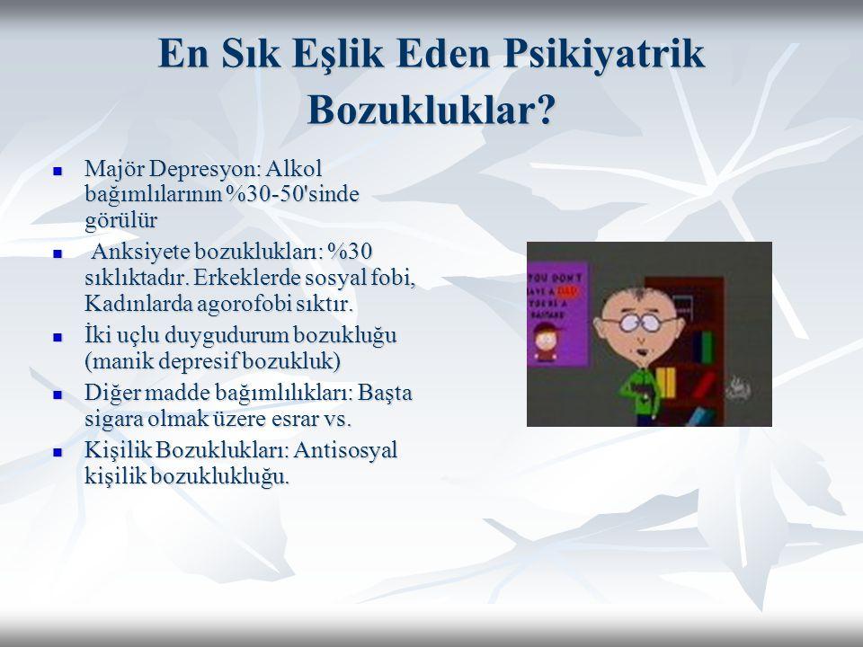 En Sık Eşlik Eden Psikiyatrik Bozukluklar? Majör Depresyon: Alkol bağımlılarının %30-50'sinde görülür Majör Depresyon: Alkol bağımlılarının %30-50'sin