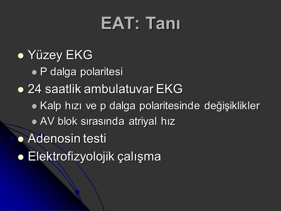 EAT: Tanı Yüzey EKG Yüzey EKG P dalga polaritesi P dalga polaritesi 24 saatlik ambulatuvar EKG 24 saatlik ambulatuvar EKG Kalp hızı ve p dalga polarit
