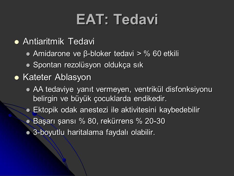 EAT: Tedavi Antiaritmik Tedavi Antiaritmik Tedavi Amidarone ve β-bloker tedavi > % 60 etkili Amidarone ve β-bloker tedavi > % 60 etkili Spontan rezolü