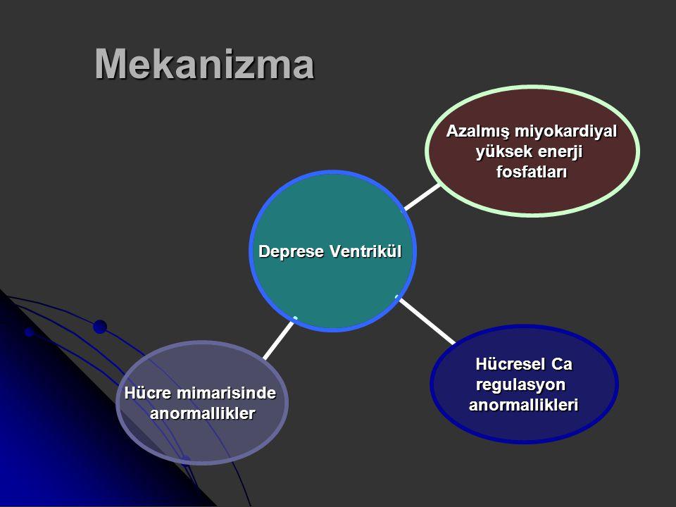 Mekanizma Deprese Ventrikül Azalmış miyokardiyal yüksek enerji fosfatları Hücresel Ca regulasyonanormallikleri Hücre mimarisinde anormallikler