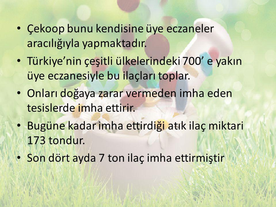 Çekoop bunu kendisine üye eczaneler aracılığıyla yapmaktadır. Türkiye'nin çeşitli ülkelerindeki 700' e yakın üye eczanesiyle bu ilaçları toplar. Onlar