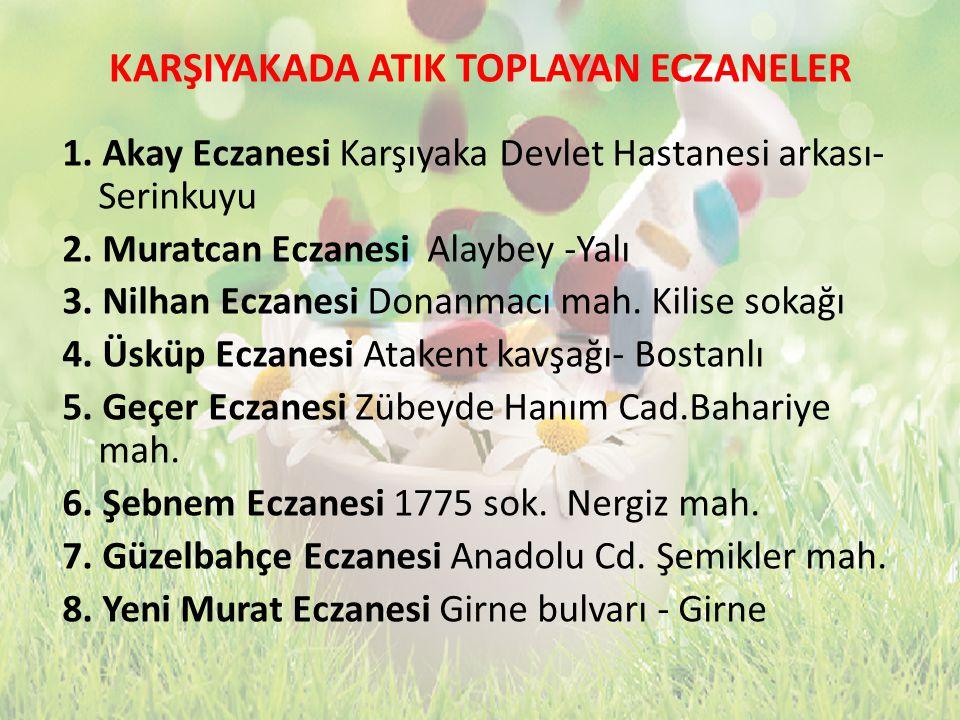 KARŞIYAKADA ATIK TOPLAYAN ECZANELER 1. Akay Eczanesi Karşıyaka Devlet Hastanesi arkası- Serinkuyu 2. Muratcan Eczanesi Alaybey -Yalı 3. Nilhan Eczanes