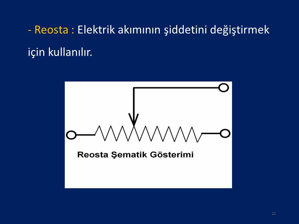 - Reosta : Elektrik akımının şiddetini değiştirmek için kullanılır. 12