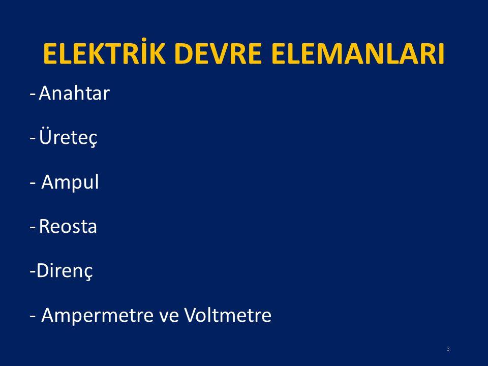 ELEKTRİK DEVRE ELEMANLARI -Anahtar -Üreteç - Ampul -Reosta -Direnç - Ampermetre ve Voltmetre 3