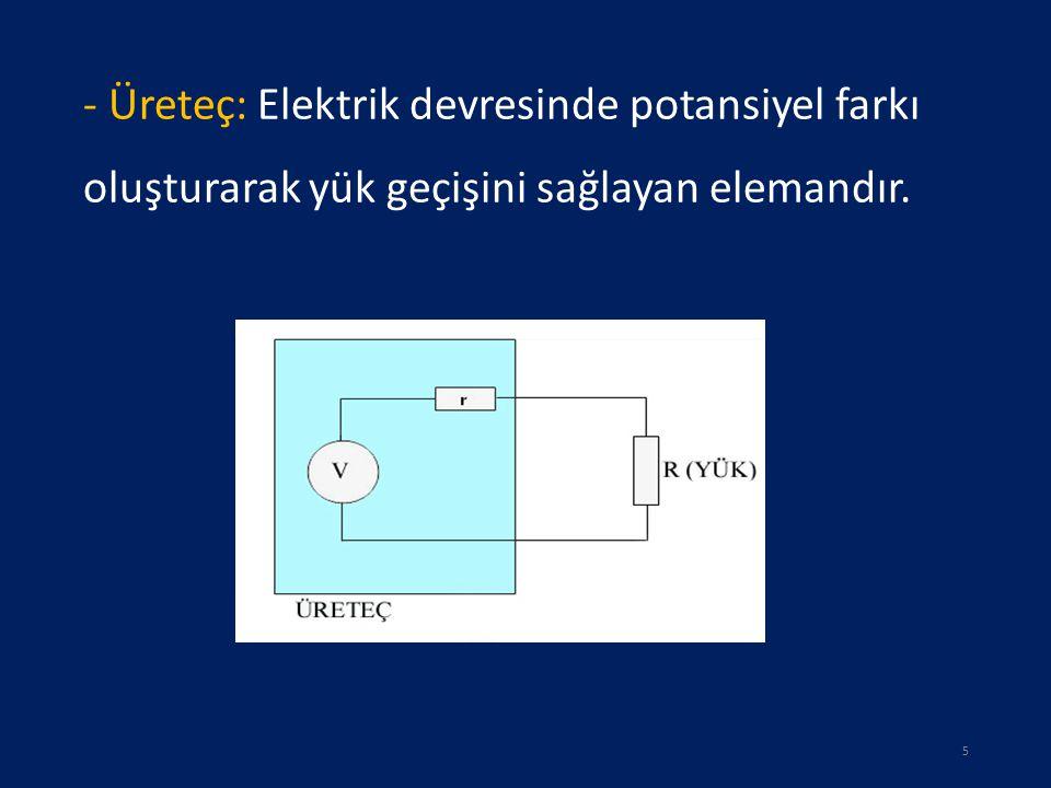 - Üreteç: Elektrik devresinde potansiyel farkı oluşturarak yük geçişini sağlayan elemandır. 5