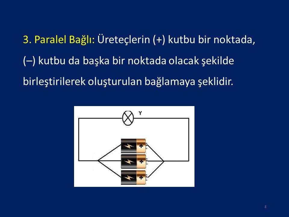 3. Paralel Bağlı: Üreteçlerin (+) kutbu bir noktada, (–) kutbu da başka bir noktada olacak şekilde birleştirilerek oluşturulan bağlamaya şeklidir. 8