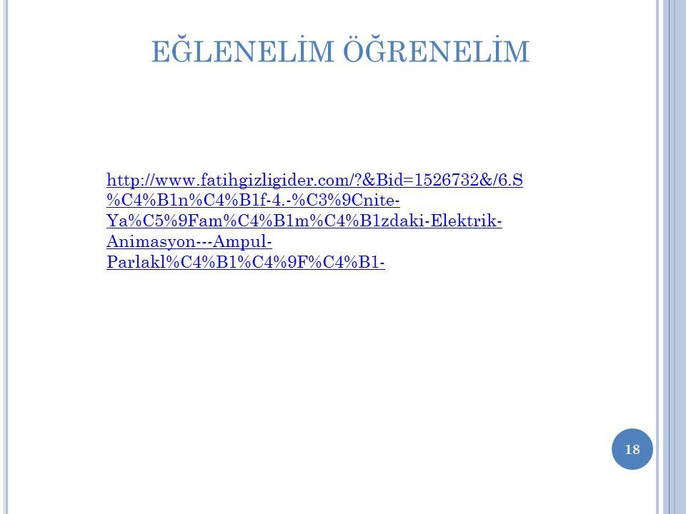 18 http://www.fatihgizligider.com/?&Bid=1526732&/6.S %C4%B1n%C4%B1f-4.-%C3%9Cnite- Ya%C5%9Fam%C4%B1m%C4%B1zdaki-Elektrik- Animasyon---Ampul- Parlakl%C