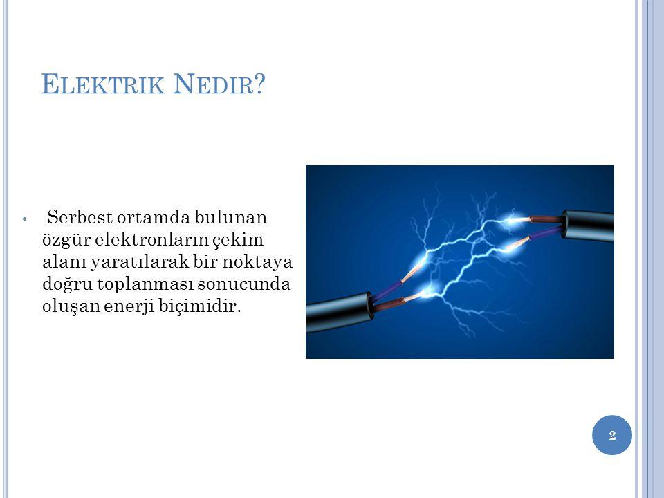 E LEKTRIK N EDIR ? Serbest ortamda bulunan özgür elektronların çekim alanı yaratılarak bir noktaya doğru toplanması sonucunda oluşan enerji biçimidir.