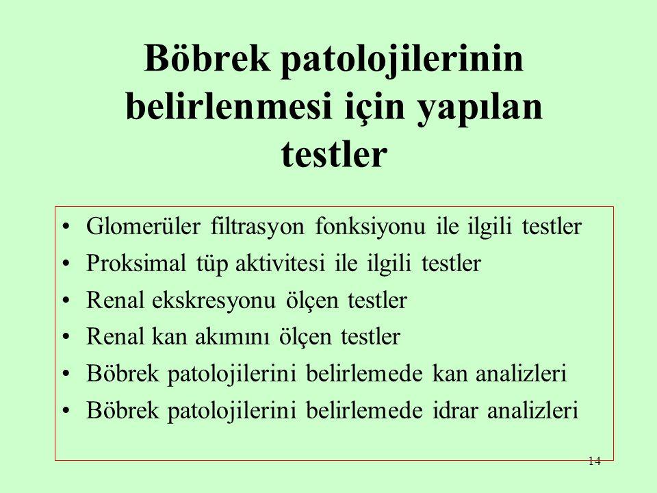 14 Böbrek patolojilerinin belirlenmesi için yapılan testler Glomerüler filtrasyon fonksiyonu ile ilgili testler Proksimal tüp aktivitesi ile ilgili te